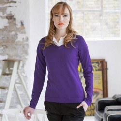 Plain V Neck Sweater Ladies Lightweight Henbury
