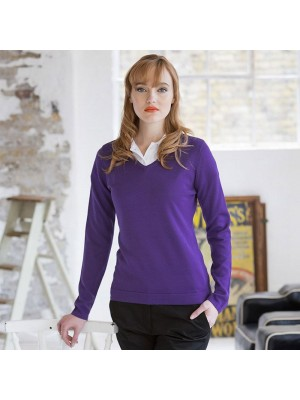 Plain V Neck Sweater Ladies Lightweight Henbury