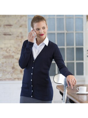 Plain V Neck Cardigan Ladies Henbury