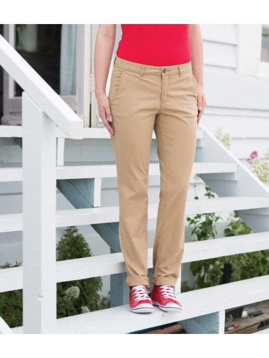 Plain Trousers Ladies Stretch Chino Front Row 220 gsm GSM