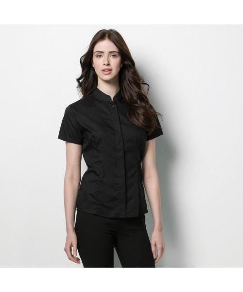 Plain Mandarin Collar Shirt Short Sleeve Kustom Kit 120 GSM