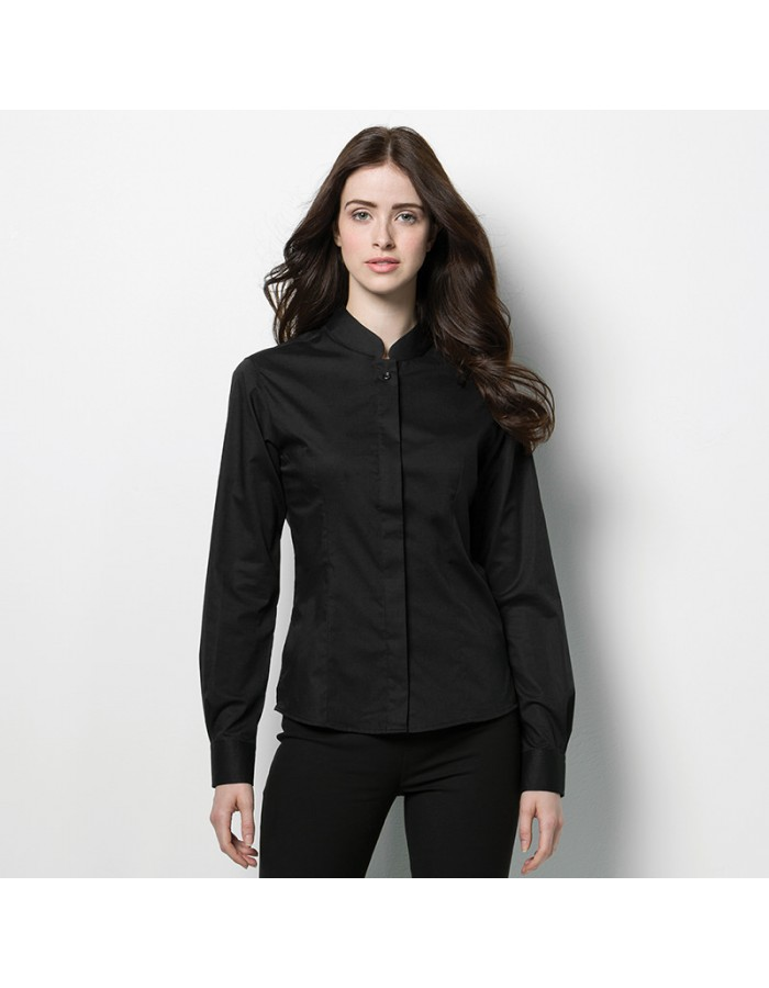 Plain Mandarin Collar Shirt Long Sleeve Kustom Kit 120 GSM