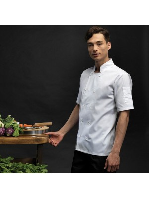 Plain Jacket Short Sleeve Chef's Premier 195 GSM