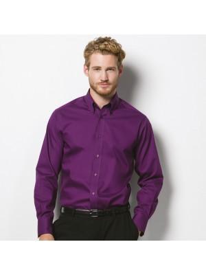 Plain Oxford Shirt Long Sleeve Tailored Kustom Kit 125 GSM