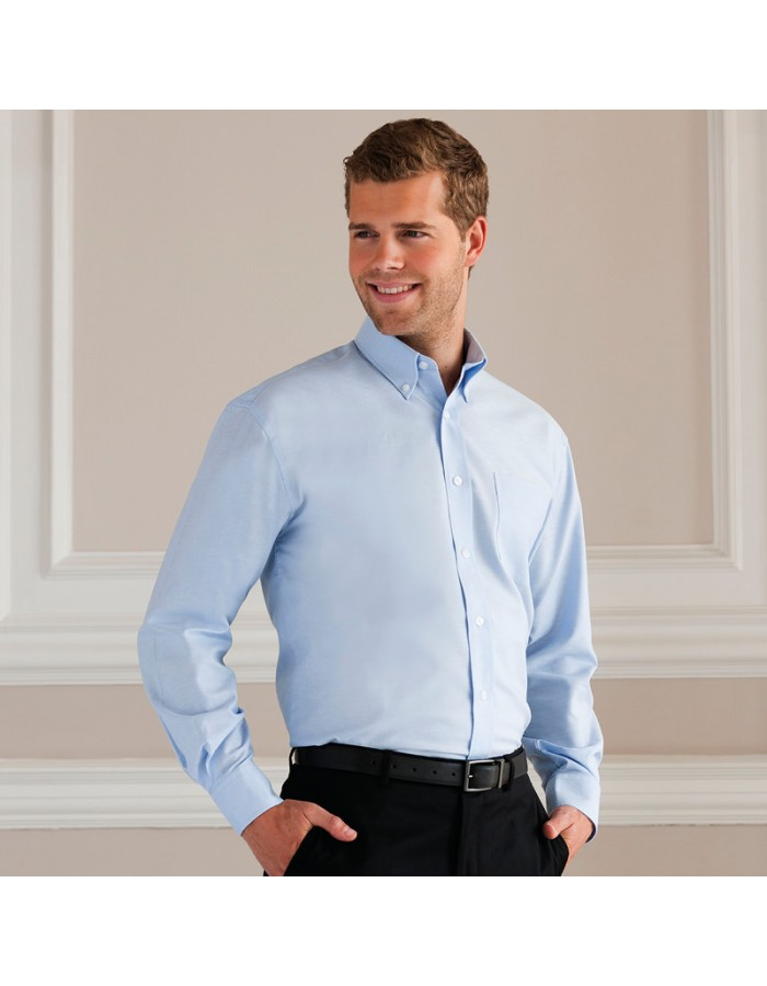 Plain Oxford Shirt Long Sleeve Easy Care  Russell White 130 gsm Cols 135 GSM