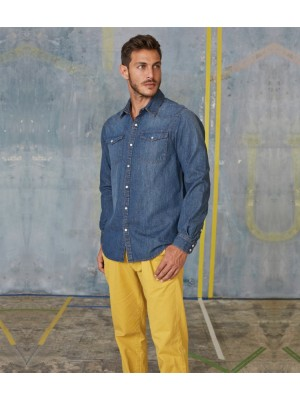 Plain Denim Shirt Short Sleeve Kariban 150 GSM