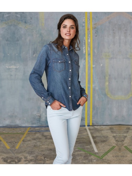 Plain Denim Shirt Ladies Long Sleeve Kariban 150 gsm GSM
