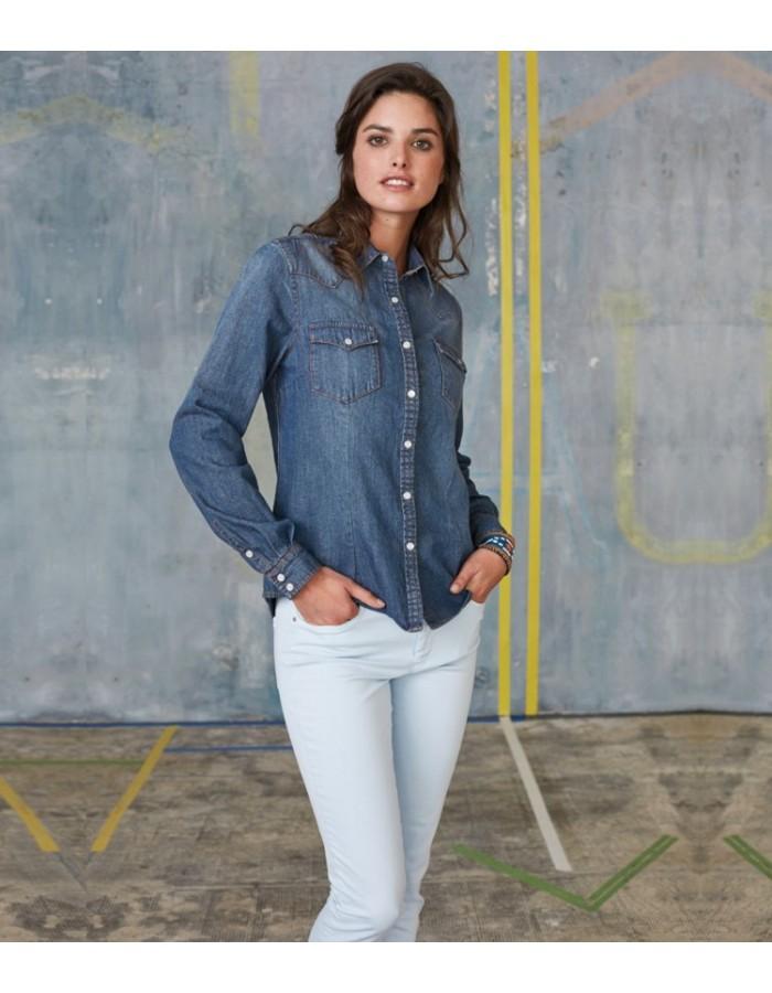 Plain Denim Shirt Ladies Long Sleeve Kariban 150 GSM