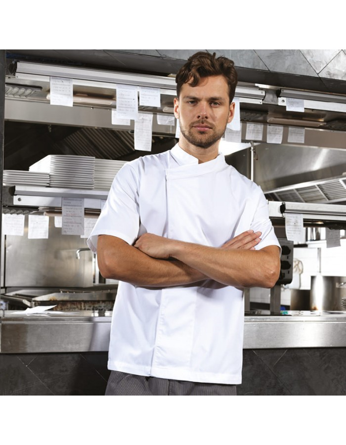 Plain short sleeve tunic Culinary pull-on chef's Premier 195 GSM