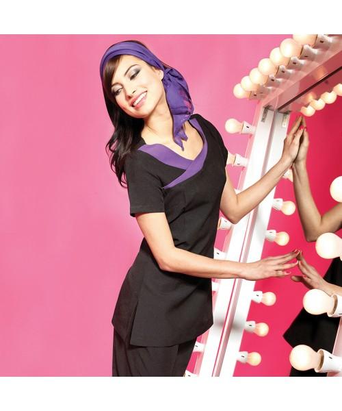 Plain beauty and spa tunic contrast neckline Ivy Premier 185 GSM
