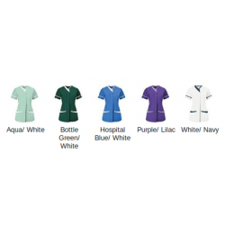 Plain stretch scrub top Men's Alexandra Main fabric: 195gsm. Side panels: 240 GSM