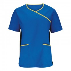 Plain stretch scrub top Men's Alexandra Main fabric: 195gsm. Side panels: 240 GSM