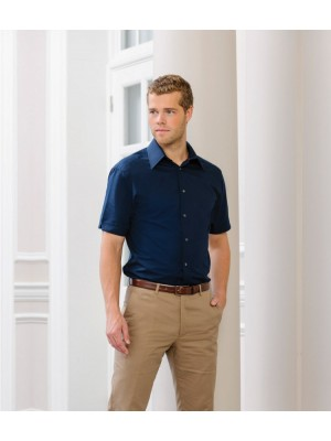 Plain Tencel Fitted Shirt Short Sleeve Russell 136 gsm