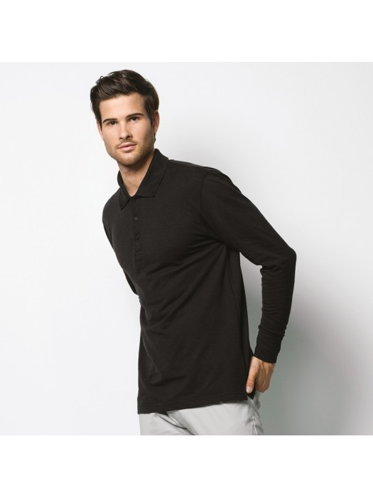 Plain Polo Shirt Long Sleeve Poly/Cotton Pique Kustom Kit 200 GSM