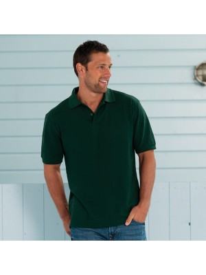 Plain Polo Shirt Hardwearing Pique Russell White 210 gsm Cols 215 GSM