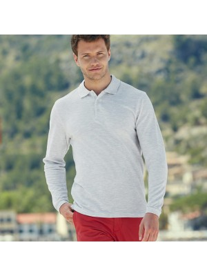 Plain Polo Shirt Long Sleeve Pique Fruit of the Loom White 170 gsm Cols 180 GSM