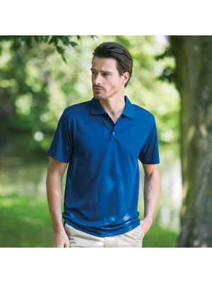 Plain Cooltouch® textured stripe polo Henbury 180 GSM