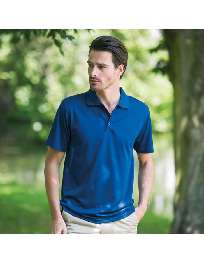 Plain Polo Shirt Cooltouch Textured Stripe Gildan 180 GSM
