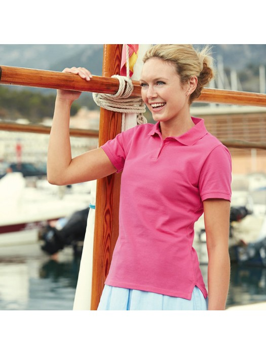 Plain Polo Shirt Lady Fit Pique Fruit of the Loom White 210 gsm Cols 220 GSM