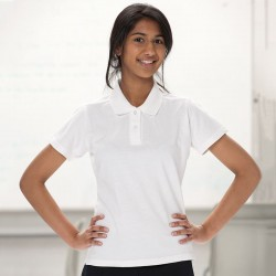 Plain Polo Shirt Ladies Pique Russell White 195 gsm Cols 200 GSM