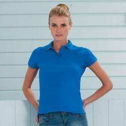 Plain Polo Shirt Ladies Ultimate Pique Russell White 210 gsm Cols 215 GSM