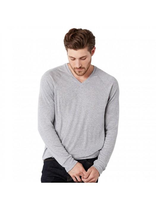 Plain Sweater Unisex Lightweight V Neck Canvas 180 GSM