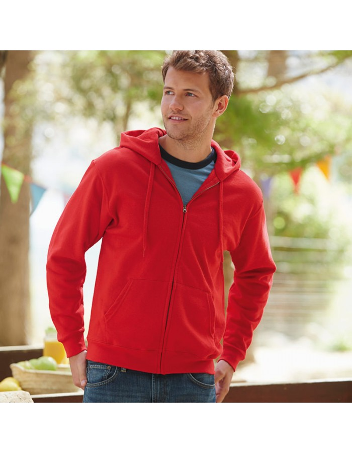 Plain Sweatshirt Zip Hooded Fruit of the Loom 280 GSM