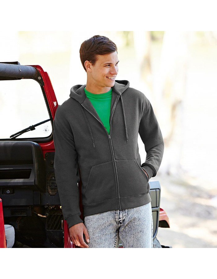 Plain Sweatshirt Premium Zip Hooded Fruit of the Loom 280 GSM