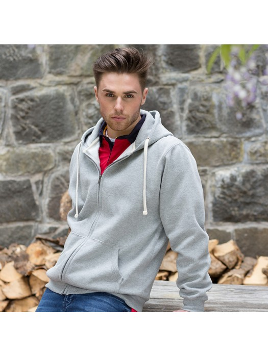 Plain Sweatshirt Zip Hooded Front Row 330 GSM