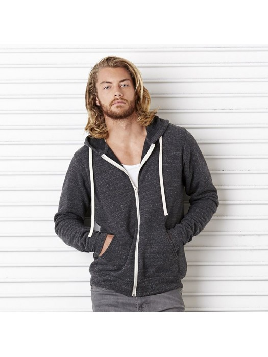 Plain Full Zip Hoodie Unisex Triblend Canvas 280 GSM