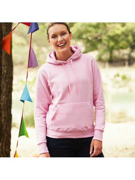 Plain Sweatshirt Lady Fit Hooded Fruit of the Loom 280 GSM