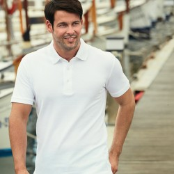Plain Polo Shirt Heavy Pique Fruit of the Loom White 230 gsm Cols 240 GSM