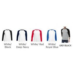 SNS Contrast Baseball 100% Cotton LONG Sleeve T Shirts - Stars & Stripes