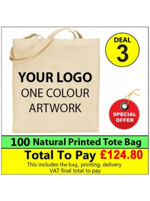 100 Cotton totes with 1 colour print Deal 3