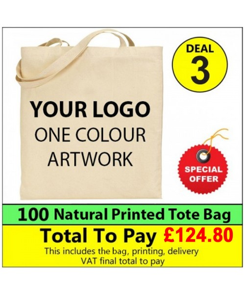 100 Cotton totes with 1 colour print Deal 3 - Stars & Stripes
