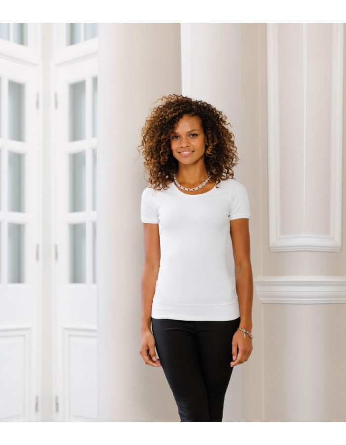 Plain Stretch Top Ladies Short Sleeve  Russell White 215 gsm Black 220 GSM