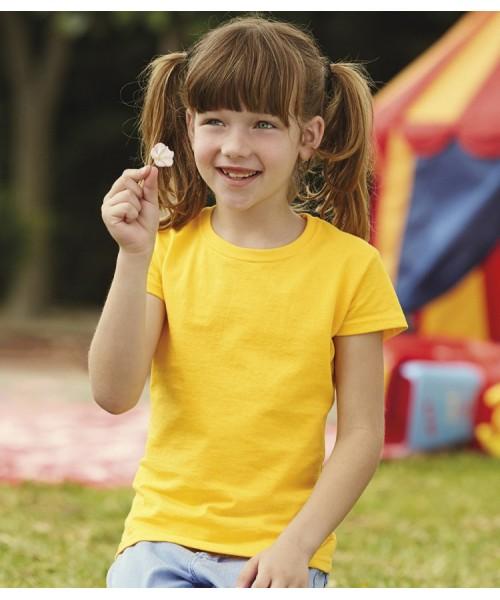 Plain T-Shirt Girls Value Fruit of the Loom Kids 160 gsm Cols 165 GSM