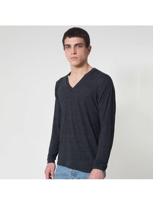 Durable rib long sleeve v-neck