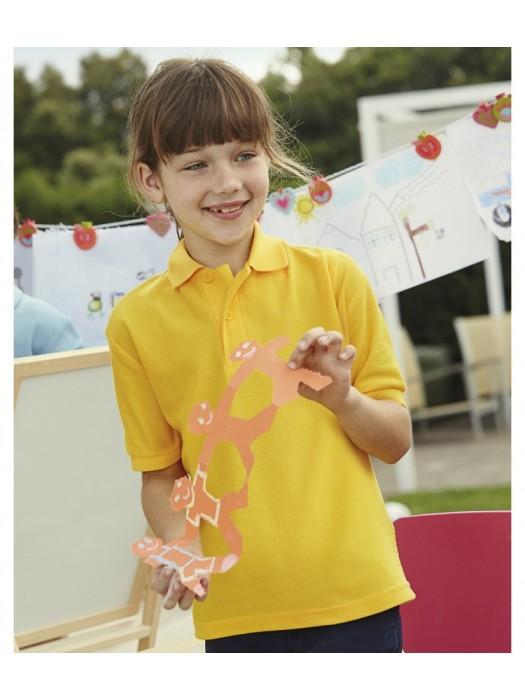 Plain Shirt Pique Polo Fruit of the Loom Kids White 170 gsm Cols 180 gsm
