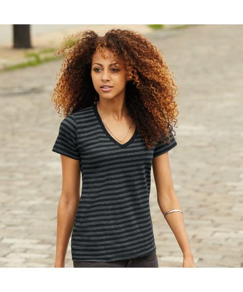 Anvil women's v-neck striped tshirt