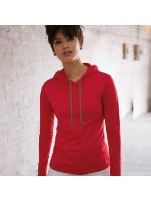 Anvil women's fashion long sleeve hooded tshirt