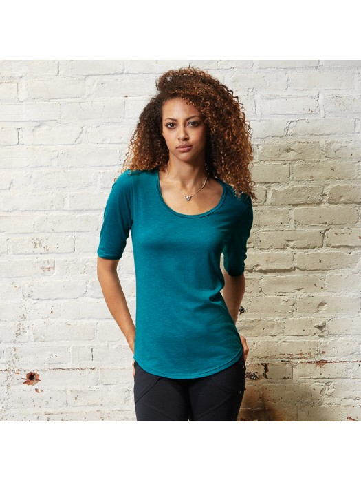 Anvil women's deep scoop ½ sleeve tshirt