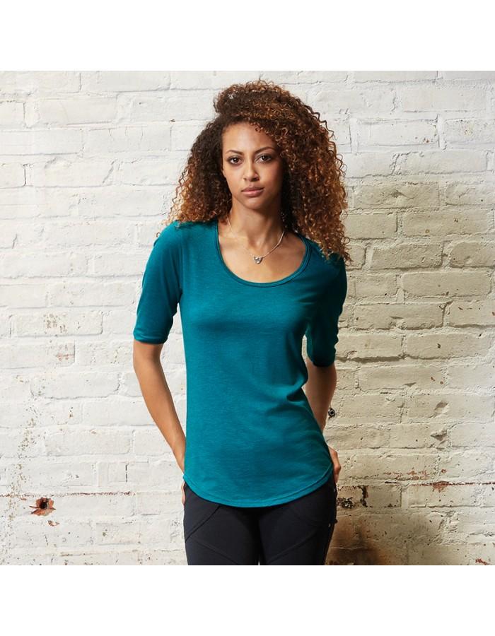 Anvil women's deep scoop ½ sleeve tshirt