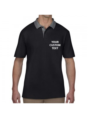 Personalised Polo Shirts Cotton Double Pique Anvil 210gsm with custom text Embroidery or logo