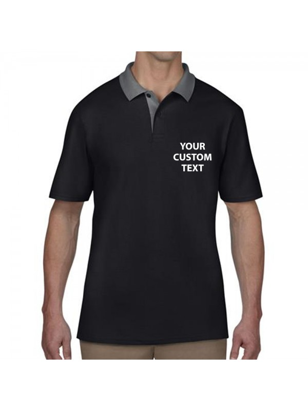 05de0c281 Zoom · Personalised Polo Shirts Cotton Double Pique Anvil 210gsm with custom  ...