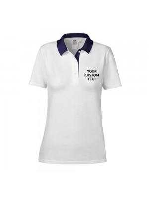 Personalised Polo Shirts Ladies Cotton Double Pique Anvil 210gsm with custom text Embroidery or logo