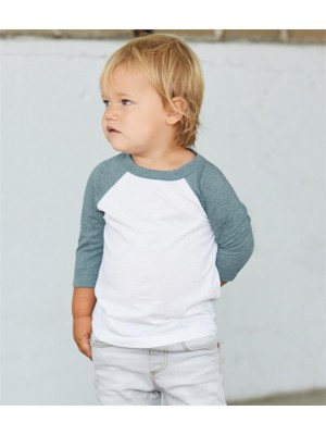 Plain TODDLER 3/4 SLEEVE BASEBALL T-SHIRT CANVAS 130 GSM