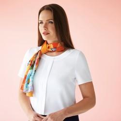 Plain Women's Felina crepe de chine short sleeve blouse BROOK TAVERNER 205 GSM