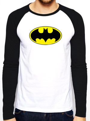 BATMAN  T SHIRT Official Merchandise BATMAN - LOGO (BASEBALL SHIRT) Black/White t-shirt