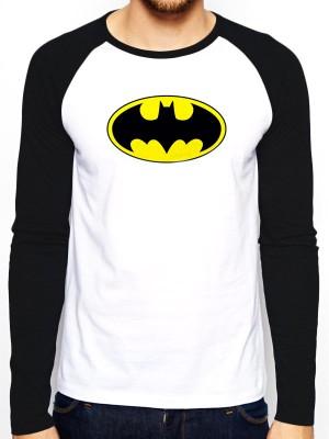 BATMAN  T SHIRT Official Merchandise BATMAN - LOGO (BASEBALL SHIRT) Black/White t-shirt